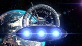 Rymdskeppflyg in i rymdstationdörr på bakgrund av jord, animering 3d Textur av jorden skapades i royaltyfri illustrationer