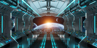 Rymdskeppinre med sikt på det avlägsna planetsystemet 3D framför Arkivfoto
