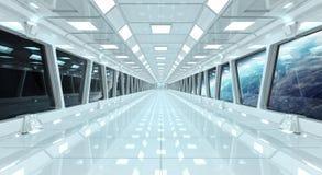 Rymdskeppkorridor med sikt på planetjorden 3D som framför el Arkivbilder