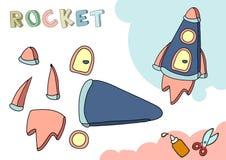 Rymdskepppappersmodell Litet hem- hantverkprojekt, DIY-papperslek Klipp ut och limma Utklipp för barn kantlagrar låter vara vekto royaltyfri illustrationer