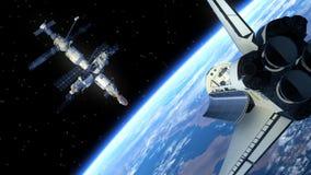 Rymdstation och rymdfärja stock illustrationer