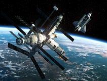 Rymdstation och rymdfärja Arkivfoto