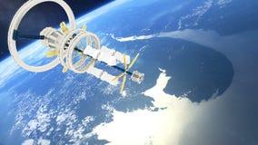 Rymdstationen flyger runt om jorden Härlig detaljerad animering royaltyfri illustrationer