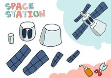 Rymdstationpappersmodell Litet hem- hantverkprojekt, DIY-papperslek Klipp ut och limma Utklipp för barn vektor stock illustrationer