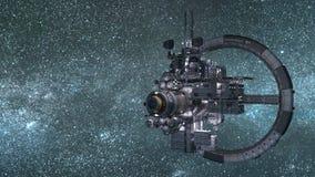 Rymdstationuppsättning mot en blå yttre rymdbakgrund stock illustrationer