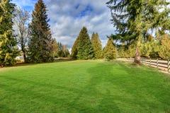 Rymlig fäktad trädgård som fylls med grönt gräs Fotografering för Bildbyråer