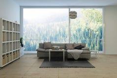 Rymlig modern vardagsrum som förbiser en skog royaltyfri illustrationer