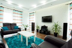 Rymlig vardagsrum med en tv royaltyfri fotografi