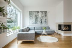 Rymlig vit vardagsruminre med grå färgsoffan royaltyfri fotografi