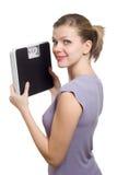 rymma den le viktkvinnan för scale ung fotografering för bildbyråer