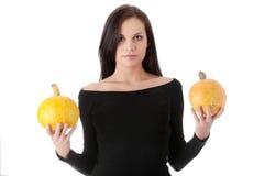 rymma den orange pumpakvinnan ung Arkivbild