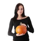 rymma den orange pumpakvinnan ung Fotografering för Bildbyråer