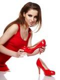 rymma den röda skokvinnan ung fotografering för bildbyråer