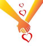 Rymma logo för handförälskelsebegrepp Arkivbild