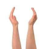 Rymma mellan gesten för två händer isolerat Arkivfoto
