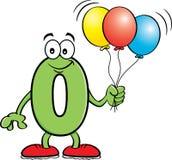 Rymmande ballonger för tecknad filmnummer noll royaltyfri fotografi