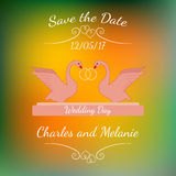 Rymmer rosa svanar för bröllop guld- cirklar över färgrik suddig bakgrund stock illustrationer
