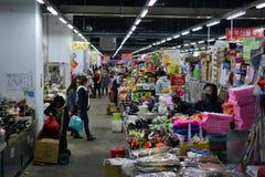 Rynek Chaoxianzu Koreańska mniejszość w Yanji mieście, Jilin prowincja, Chiny, granica korea północna fotografia stock