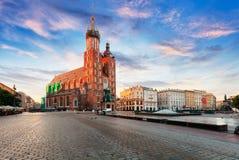 Rynek Glowny - główny plac Krakow w Polska Obraz Royalty Free