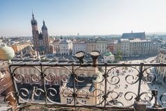 Rynek Glowny, Krakow. Aerial view of main city square.  Royalty Free Stock Photography