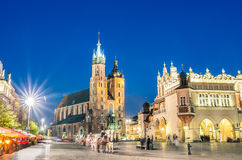 Rynek Glowny - The main square of Krakow in Poland Stock Images