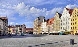 Rynek (het Vierkant van de Markt) in Wroclaw, Polen stock foto's
