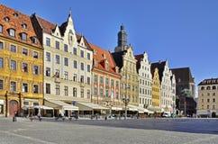 Rynek (het Vierkant van de Markt) in Wroclaw, Polen stock foto