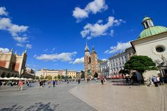 Rynek square in Krakow. Rynek - the main market square in Krakow, Poland Stock Photo