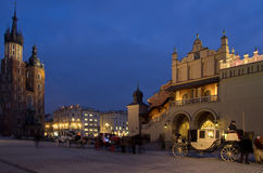 Rynek Main Market Square by Night,Krakow,Poland Royalty Free Stock Photos