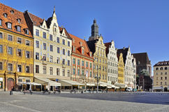 Rynek (marknadsfyrkant) i wroclawen, Polen Arkivfoto