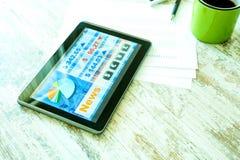 Rynek Papierów Wartościowych handluje app na pastylka pececie zdjęcie royalty free
