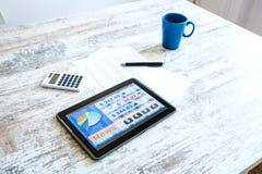 Rynek Papierów Wartościowych handluje app na pastylka pececie obraz stock