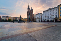 Rynek square in Krakow in the morning. Rynek square in Krakow, Poland. Europe in the morning Stock Photo