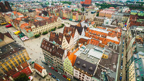 Rynek Square WroclawPoland. View from church tower Royalty Free Stock Photos