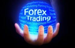 Rynek walutowy Handlarskiej kuli ziemskiej tła planu błękitny kolor Zdjęcie Royalty Free