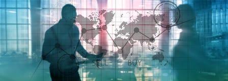 Rynek walutowy mapy Handlarscy Inwestorscy Pieniężni wykresy Biznesu i technologii pojęcie fotografia stock