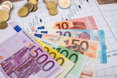 Rynków walutowych targowi czarni candlesticks z euro rachunkami fotografia stock