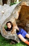 Rynka pannan pojken i ihåligt träd Arkivfoton