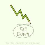 Rynku Papierów Wartościowych spadek zielonym ołówkiem Fotografia Stock