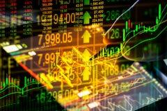 Rynku Papierów Wartościowych wskaźnik i pieniężnych dane widok od DOWODZONEGO kopia obrazy stock