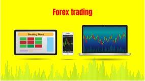 Rynku walutowego handlu mapa na laptopu, pastylki i smartphone wektoru wykresie, ilustracji
