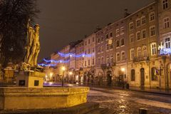 Rynok Square at night with Christmas decoration stock images