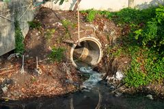 Rynsztokowa drymba lub uwolnienia wastewater w rzekę odpływowy lub ściekowy obraz stock