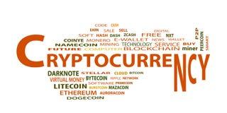 Ryptocurrency ¡ Ð, концепция облака слова на белой предпосылке Стоковые Изображения