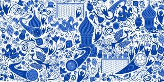 Rysk bakgrund, modell med moderna och traditionella beståndsdelar royaltyfri illustrationer