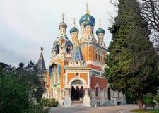 Rysk domkyrka i Nice, Frankrike Arkivbild
