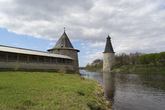 Rysk fästning Pskov Arkivfoto