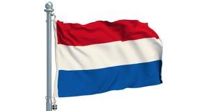 Rysk flagga som vinkar på vit bakgrund, animering framförande 3d