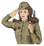 Rysk flickasoldat Kvinnlig soldat i retro militära likformig Maj 9 Victory Day Royaltyfri Fotografi