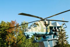 Rysk helikopter Mi - 24 monument Arkivfoto